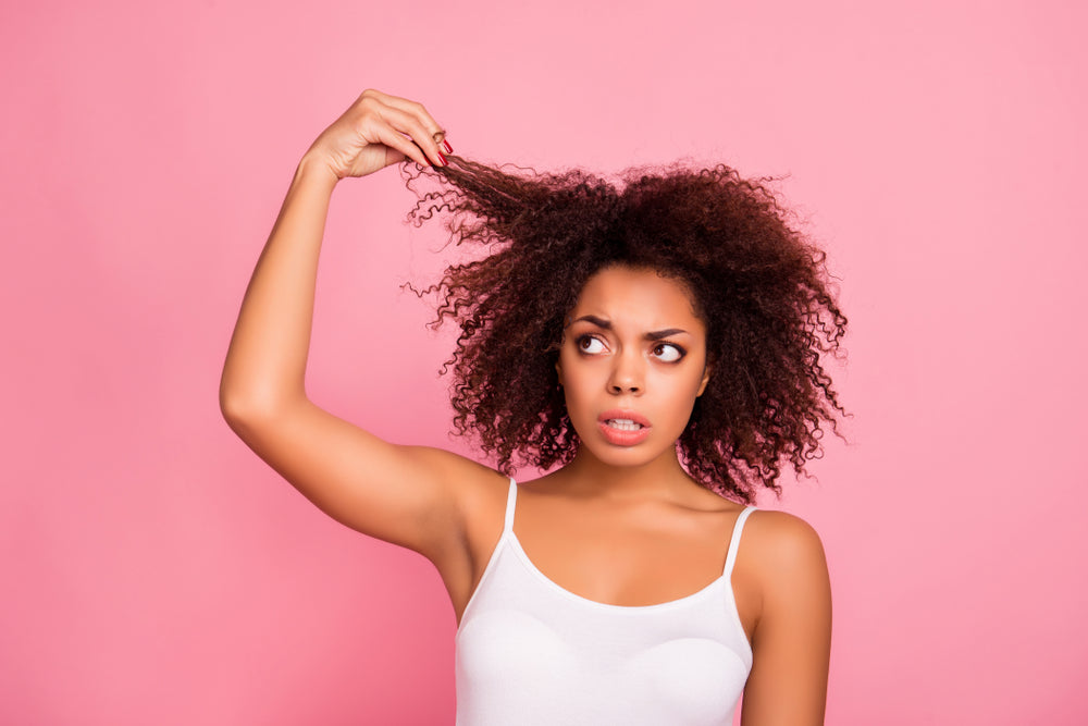Woman with Hair Struggles