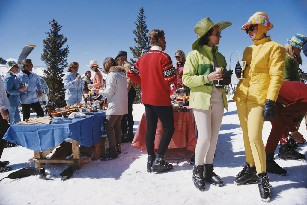 ic:March 1968: A stand-up fondue picnic for skiers at Snowmass-at-Aspen, Colorado which has more than fifty miles of trails and snowfields. The village was opened in 1967.