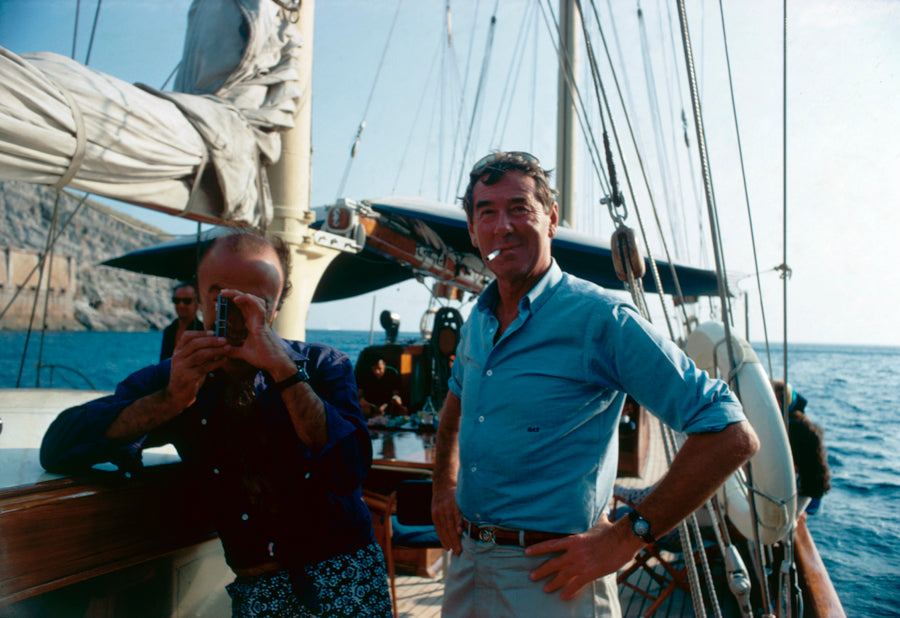 ic: Photographer Slim Aarons (right) on board a yacht off Capri, Italy, September 1968.