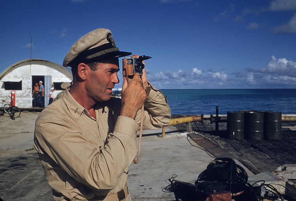 ic: 1955: Film star Henry Fonda (1905 - 1982) does some personal camera work while on location for Mister Roberts in which he played the part of Lt Doug Roberts.