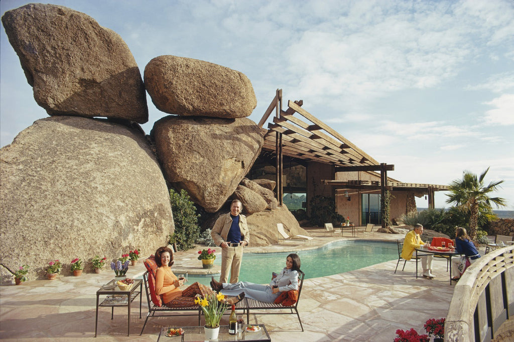 ic: Carl Hovgard's home, Bouldereign in Carefree, Arizona, built around the boulders on a desert site, January 1973.