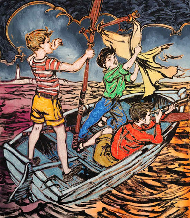 Fluro Boys in Boat by David Bromley - FINEPRINT co