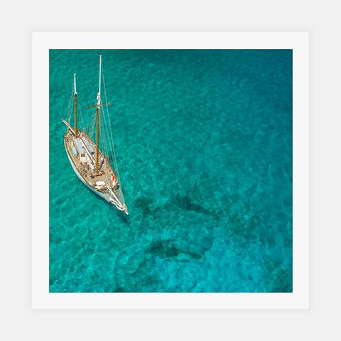 Overhead view of a sailboat, Caribbean by Getty Images - FINEPRINT co