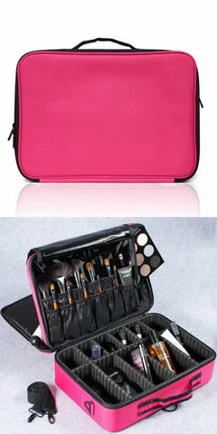 professional pink large makeup travel bag