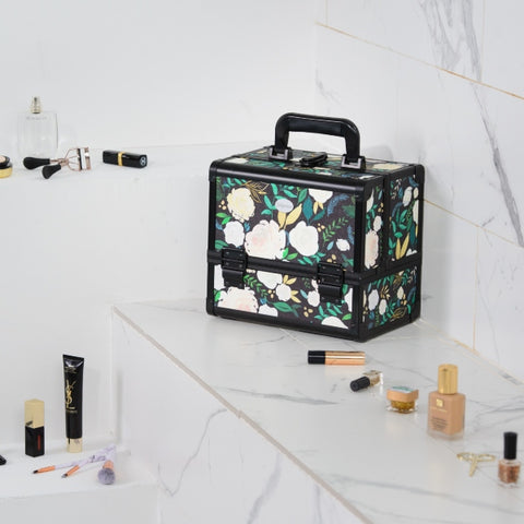 Joligrace Black Floral Makeup Case