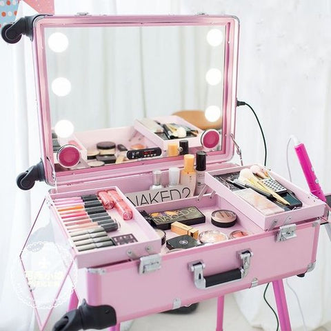 Pink Makeup Case with Lights