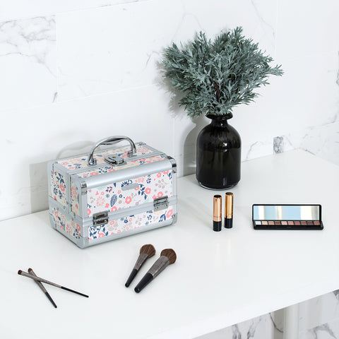 Joligrace Makeup Train Case Beige Floral