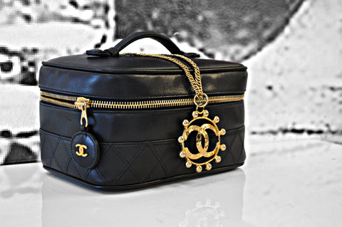 Black Chanel Makeup Bag