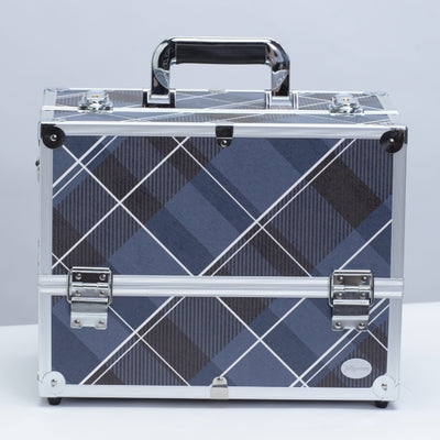 Blue Plaid Print Professional Makeup Train Case with Four Tier Dividing Tray - Joligrace