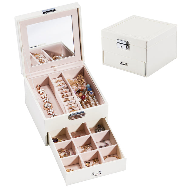 Hododou White with Mirror&Drawer Jewelry Box