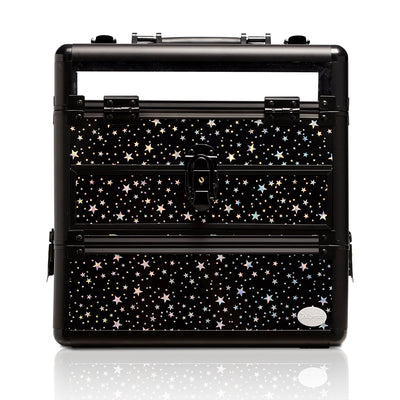 Black Star Print Professional Nail Artist Makeup Train Case with Drawer - Joligrace