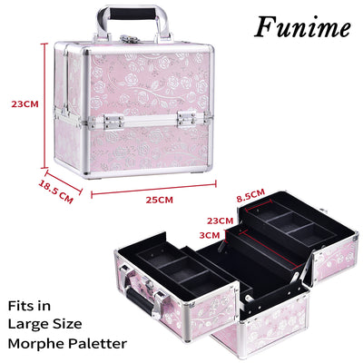 Pink Stripe Professional Makeup Train Case with Detachable Trays - Joligrace
