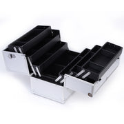 Silver Diamond Professional Makeup Train Case with Four Tier Dividing Tray - Joligrace