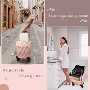 Stagiant Rose Gold Diamond Rolling Makeup Trolley