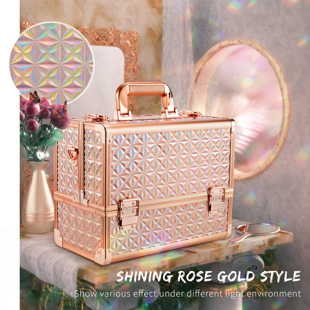 Frenessa Shiny Rose Gold 12 inch Large Portable Makeup Case