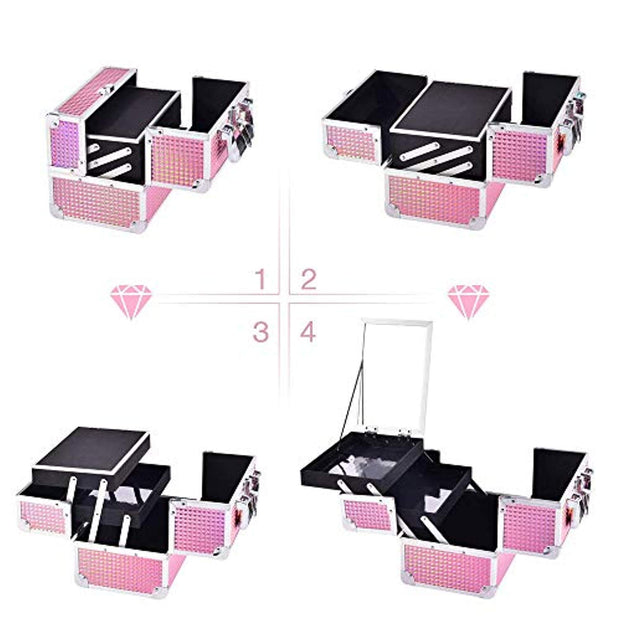 Joligrace Makeup Box Cosmetic Train Case Jewelry Organizer Lockable with Keys and Mirror 2-Tier Tray Portable Carrying with Handle Travel Storage Pink - Joligrace