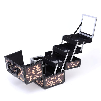 Brown Love Print Professional Makeup Train Case with Brush Holder - Joligrace