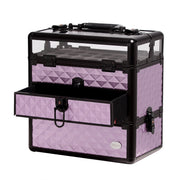 Purple Diamond Professional Nail Artist Makeup Train Case with Drawer - Joligrace