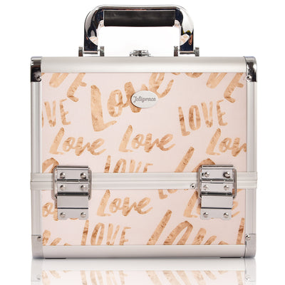 Beige Love Makeup Train Case with Brush Holder Large Storage-Joligrace - Joligrace