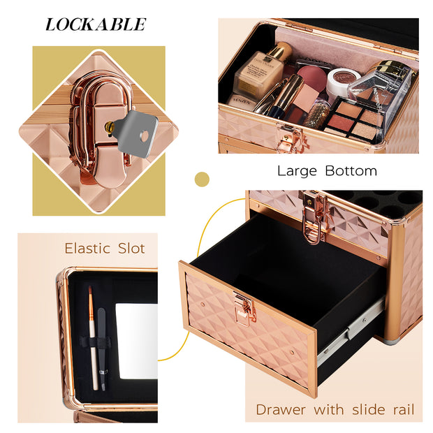 Frenessa Rose Gold Nail Polish Makeup Case