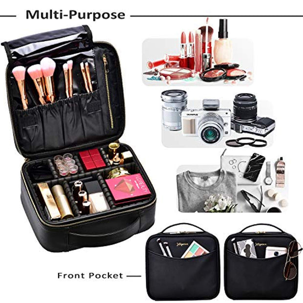 Joligrace Makeup Train Case Travel Cosmetic PU Leather Makeup Bag with Adjustable Divider Extra Pocket Portable Travel Make Up Organizer Storage for Women - Black - Joligrace