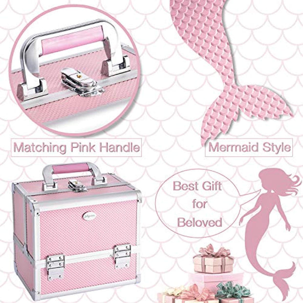 Pink Cosmetic Train Case Makeup Storage-Joligrace - Joligrace