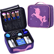 Joligrace Makeup Bag Unicorn Travel Cosmetic Leather Organizer Makeup Train Case with Adjustable Dividers Portable Make Up Storage Mini Size for Girl Jewelry Accessories - Purple - Joligrace