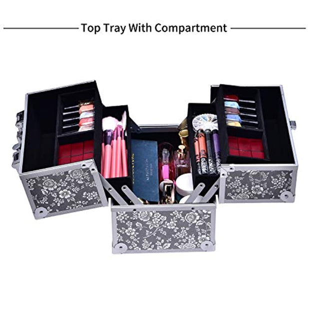 Frenessa Makeup Train Case 10 Inch Professional Aluminum 4-trays Cosmetic Box Jewelry Storage Organizer with Lockable Portable Travel for Women and Girls Silver Floral - Joligrace