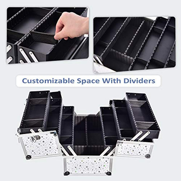White Star Cosmetic Train Case Makeup Storage-Joligrace - Joligrace