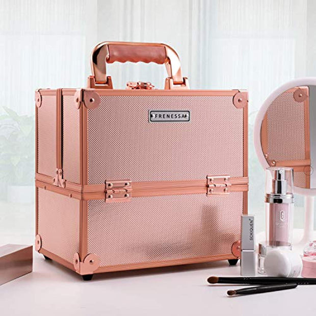 Frenessa Makeup Train Case 10 Inch Travel Beauty Cosmetic Box Professional 4-trays Jewelry Storage Organizer with Lockable Portable for Women and Girls Rose Gold - Joligrace