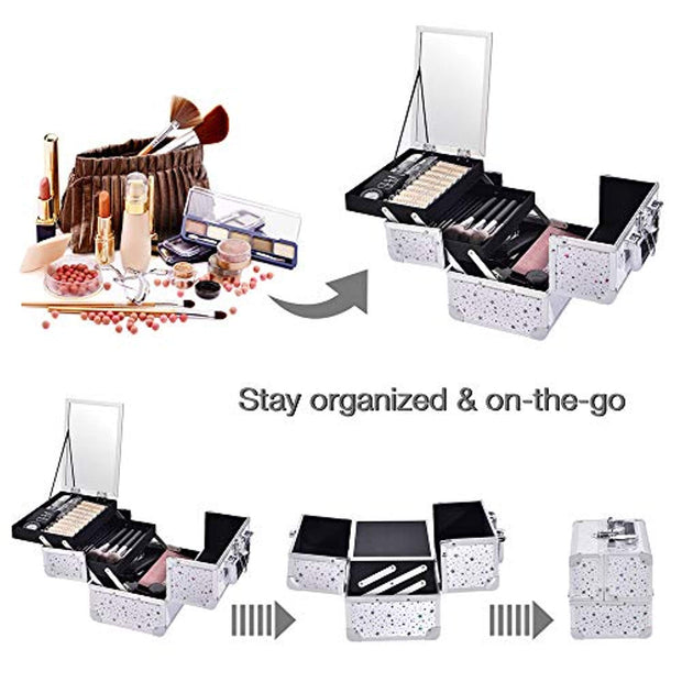 White Star Makeup Train Case with Mirror Carrying Storage Organizer-Joligrace - Joligrace