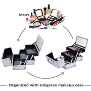 Joligrace Makeup Box Cosmetic Train Case Jewelry Organizer Lockable with Keys and Mirror 2-Tier Tray Portable Carrying with Handle Travel Storage - Silver - Joligrace