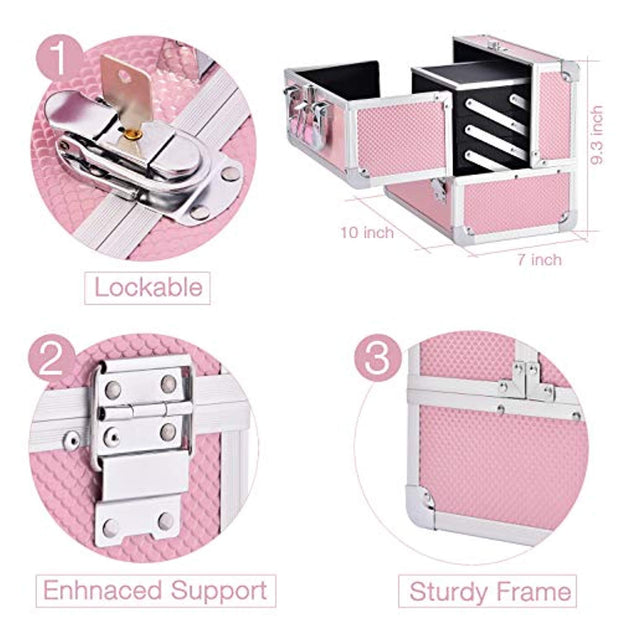 Joligrace Makeup Train Case Cosmetic Box 10 Inches Jewelry Organizer Professional 3 Tiers Trays with Mirror and Brush Holder Lockable Key Portable Travel Mermaid Pink - Joligrace
