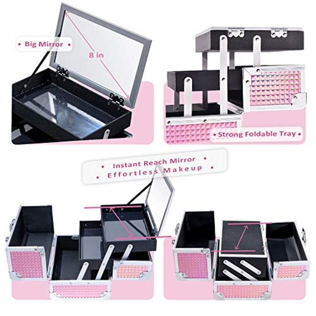 Frenessa Makeup Train Case Cosmetic Organizer Box Lockable with Keys and Mirror 2-Tier Tray Portable Carrying with Handle Travel Storage - Pink - Joligrace