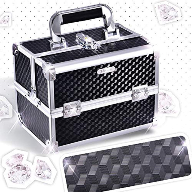 Joligrace Makeup Box Cosmetic Train Case Jewelry Organizer Box - 2 Trays Key Lock Portable Carrying with Mirror Travel Storage Modern Style Black - Joligrace