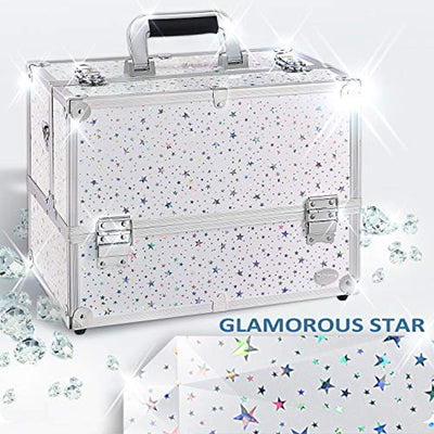 Joligrace Professional Cosmetic Makeup Train Case Star Design 14 Inch Large 6 Trays with Adjustable Dividers and Compartments Travel Storage Organizer Box with Lock and Keys - Joligrace