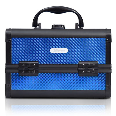 Blue Diamond Professional Makeup Train Case with Mirror - Joligrace