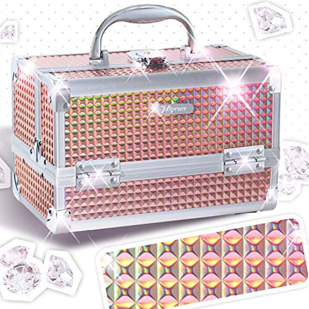 Joligrace Makeup Box Cosmetic Train Case Jewelry Organizer Lockable with Keys and Mirror 2-Tier Tray Portable Carrying with Handle Travel Storage - Orange - Joligrace
