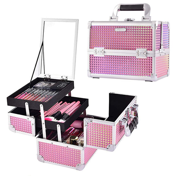 Pink Diamond Makeup Train Case with Mirror Carrying Storage Organizer-Joligrace - Joligrace