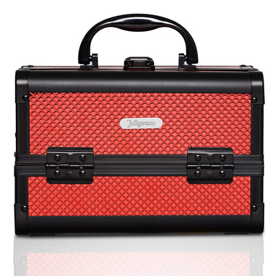Red  Diamond Professional Makeup Train Case with Mirror - Joligrace