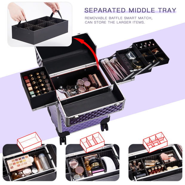 Stagiant Purple Diamond Aluminum Rolling Makeup Trolley