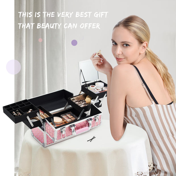 Costravio Shiny Pink Makeup Case