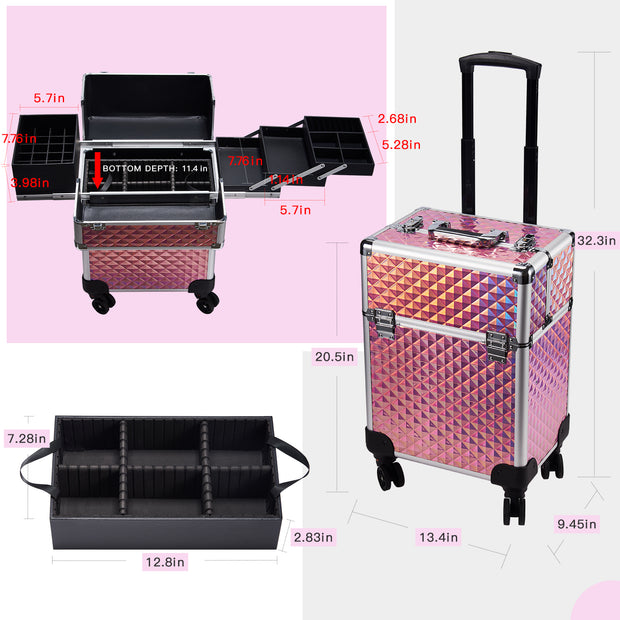 Stagiant Pink Diamond Rolling Makeup Trolley