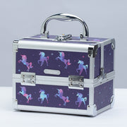 Purple Unicorn Print Professional Makeup Train Case with Mirror - Joligrace