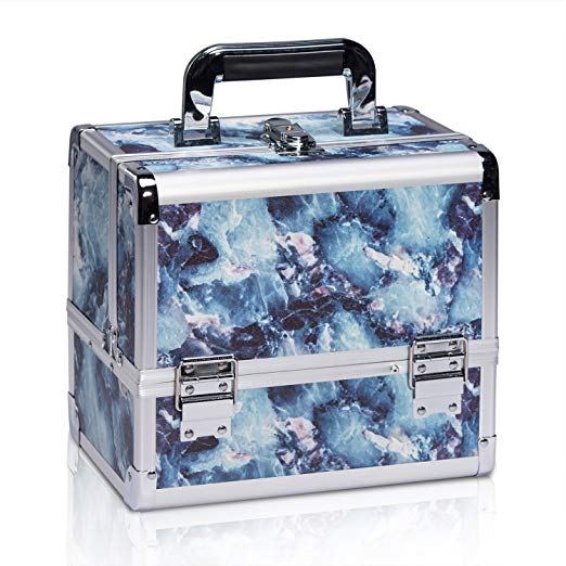 Marble Print Professional Makeup Train Case with Brush Holder - Joligrace