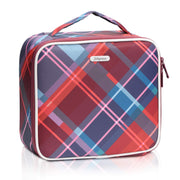Red Plaid Print Mini Travel Oxford Soft Makeup Bag with Removable Tray Dividers - Joligrace