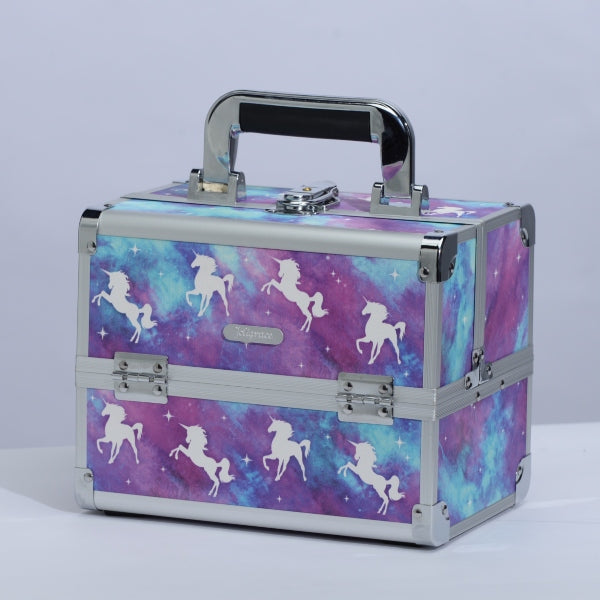 Fairy Unicorn Print Professional Makeup Train Case with Mirror - Joligrace