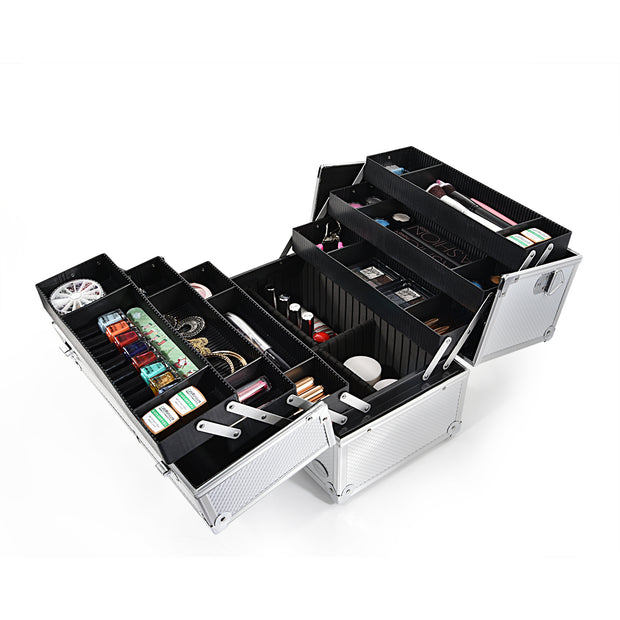 Silver Diamond Makeup Train Case Professional Large Storage Cosmetics-Joligrace - Joligrace