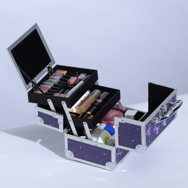 Purple Unicorn Makeup Train Case with Mirror Cosmetic-Joligrace - Joligrace