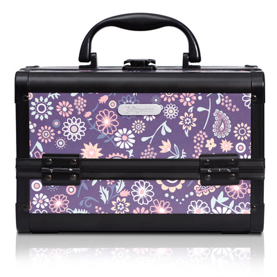 Purple Floral Print Professional Makeup Train Case with Mirror - Joligrace